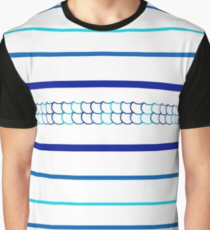 Blue Scale Pattern Graphic T-Shirt