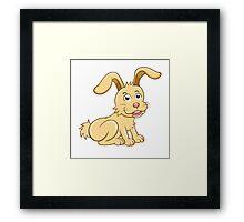 Funny yellow cartoon rabbit Framed Print
