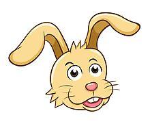 Head of funny yellow cartoon rabbit Photographic Print
