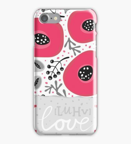 love card with red poppy flowers on white background iPhone Case/Skin