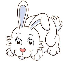 Cute white cartoon rabbit by berlinrob