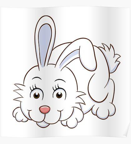 Cute white cartoon rabbit Poster