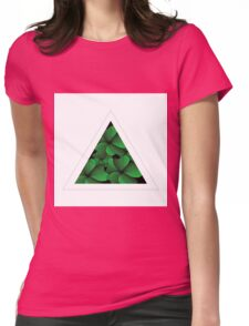 green flowers in triangle Womens Fitted T-Shirt