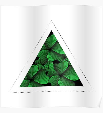 green flowers in triangle Poster