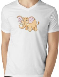 Cute yellow cartoon elephant Mens V-Neck T-Shirt