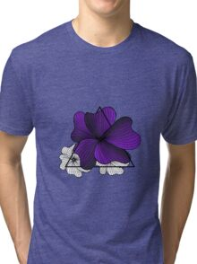 violet flowers in triangle Tri-blend T-Shirt