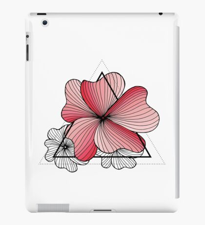 pink flowers in triangle iPad Case/Skin