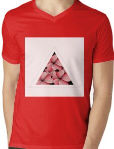 pink flowers in triangle Mens V-Neck T-Shirt