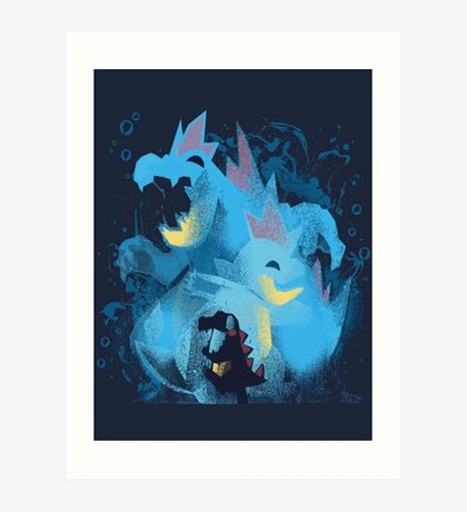totodile, croconaw and feraligart evolutions cool design Art Print