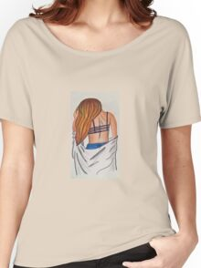 Girl back long hair colored pencil original  Women's Relaxed Fit T-Shirt