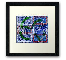 Blue background w Squares Framed Print