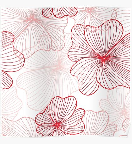 pink flowers pattern Poster