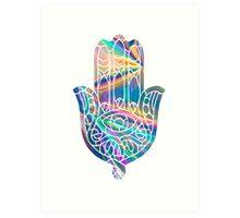 Rainbow Holographic Hamsa Art Print
