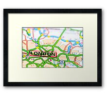 Close-up on London city on map, travel destination concept Framed Print