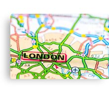 Close-up on London city on map, travel destination concept Canvas Print