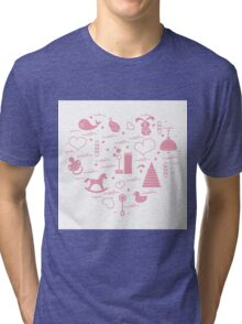 Vector illustration kids elements arranged in a heart: bird, whale, pacifier, bubbles, pyramid, beanbag, rabbit, duck and other. Tri-blend T-Shirt