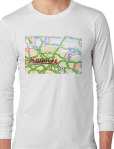 Close-up on London city on map, travel destination concept Long Sleeve T-Shirt