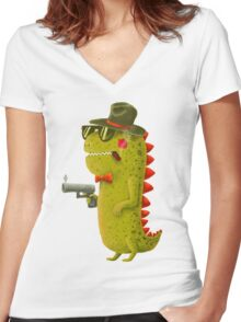 Dino bandito Women's Fitted V-Neck T-Shirt