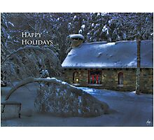 Happy Holidays, Moonlight on the Stone House Christmas card Photographic Print
