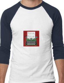 All work and no play typewritter text paper Men's Baseball ¾ T-Shirt