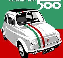 Classic Fiat 500 Italian flag by car2oonz