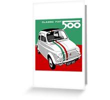 Classic Fiat 500 Italian flag Greeting Card