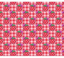 Bow Strawberry Gingham Pattern Photographic Print