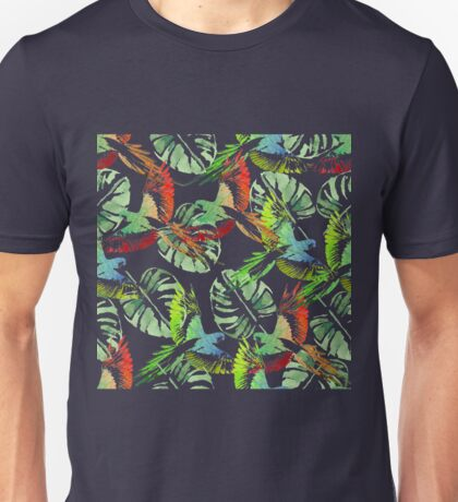 Watercolor Tropical background. Parrots,  palms. Unisex T-Shirt