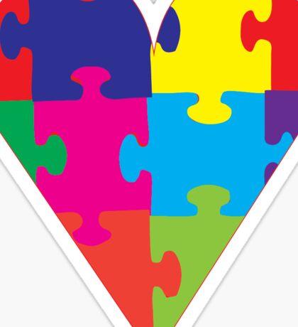 Autism Awareness Puzzle Pieces Heart Sticker