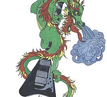 new raging dragon and guitar by redqueenself