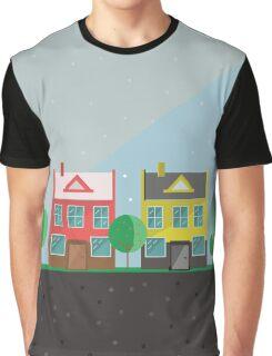 Vector illustration: colorful houses. Suburbs landscape. Flat design. Tenement houses Graphic T-Shirt