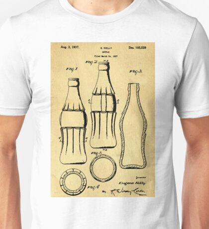 Bottle Support Patent Drawing From 1937  Unisex T-Shirt