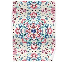 Pastel Blue, Pink & Red Watercolor Floral Pattern on Cream Poster