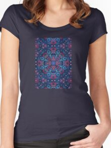 Cherry Red & Navy Blue Watercolor Floral Pattern Women's Fitted Scoop T-Shirt