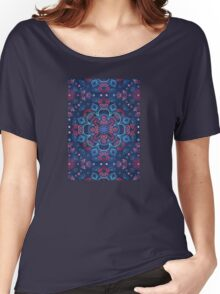 Cherry Red & Navy Blue Watercolor Floral Pattern Women's Relaxed Fit T-Shirt