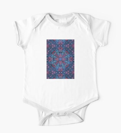 Cherry Red & Navy Blue Watercolor Floral Pattern One Piece - Short Sleeve
