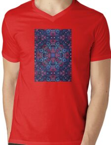 Cherry Red & Navy Blue Watercolor Floral Pattern Mens V-Neck T-Shirt