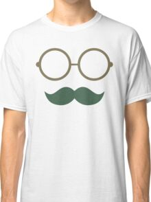 Hipster glasses moustache pattern Classic T-Shirt