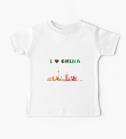 Watercolor  Asian background.  Welcome to China. Baby Tee