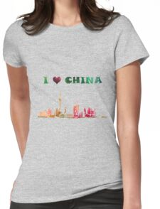 Watercolor  Asian background.  Welcome to China. Womens Fitted T-Shirt
