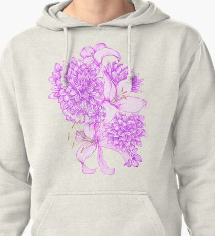 Violet Lilies and Dahlias Pullover Hoodie
