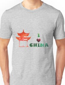 Watercolor  Asian background.  Welcome to China. Unisex T-Shirt