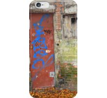 Old rusty WWII bunker door with graffiti iPhone Case/Skin
