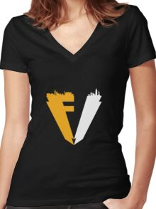 FALLENV3GAS Logo Women's Fitted V-Neck T-Shirt