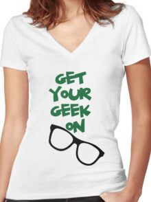 Get your geek on Women's Fitted V-Neck T-Shirt