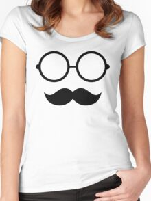 Seamless hipster glasses moustache Women's Fitted Scoop T-Shirt