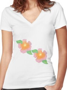Hibiscus Flower Women's Fitted V-Neck T-Shirt