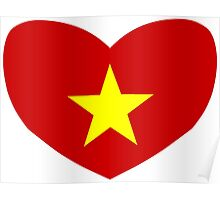 Heart Shaped Flag of Vietnam Poster