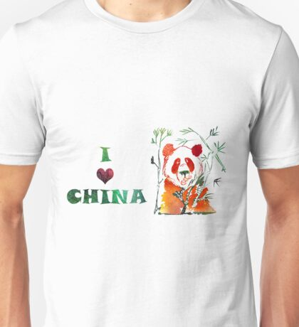 Watercolor  Asian background.  I love  China. Unisex T-Shirt