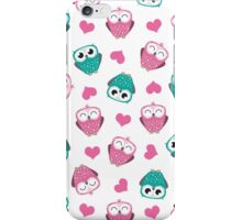 Owls & Hearts (white) iPhone Case/Skin